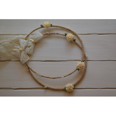 Χειροποίητα vintage στέφανα γάμου από σπάγγο και λινάτσα