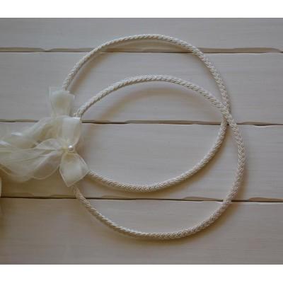 Στέφανα γάμου κοτσίδα από φλος κορδόνι